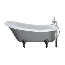 Nottingham 1500 x 750 x 570 Slipper Freestanding Dove Grey Bath With Black Feet