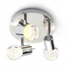 Bubble LED Ceiling Flush Plate Triple Spot Light Chrome