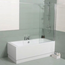 Tabor™ 1400 x 700 Straight Shower Bath with 6mm Hinged Screen
