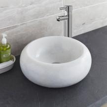 Lucia Crystal Grey-White Marble Basin & Clara Extended High Rise Basin Mixer