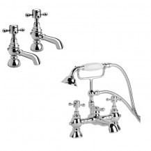 Oxford Traditional Basin Pillars and Bath Shower Mixer Taps