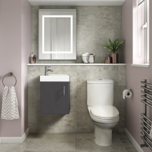 Ashford Cloakroom Grey 400 Wall Hung Vanity Unit with Albury Short Projection Toilet and Seat