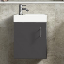 Ashford Cloakroom 400 Gloss Grey Wall Hung Vanity Unit