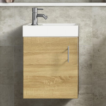 Ashford Cloakroom 400 Natural Oak Wall Hung Vanity Unit