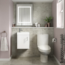 Ashford Cloakroom White 400 Wall Hung Vanity Unit with Albury Short Projection Toilet and Seat