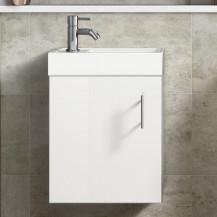 Ashford Cloakroom 400 Gloss White Wall Hung Vanity Unit