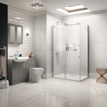 Traditional Grey Park Royal Suite with Frameless Sliding Door Shower & Single Tap Hole Basin