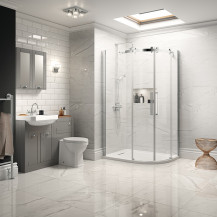 Traditional Grey Park Royal Suite with Offset Quadrant Shower & Single Tap Hole Basin