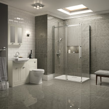 Traditional Ivory Park Royal Suite with Frameless Sliding Door Shower & Single Tap Hole Basin