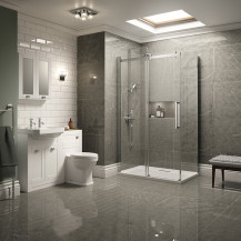 Traditional White Park Royal Suite with Frameless Sliding Door Shower & Two Tap Hole Basin