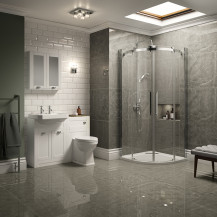 Traditional White Park Royal Suite with Quadrant Shower & Two Tap Hole Basin