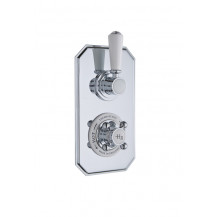 Hudson Reed White Topaz Twin Concealed Shower Valve with Diverter