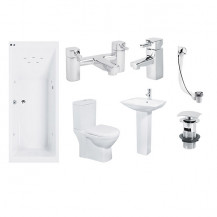 Quatro 11 Jet Whirlpool Veneto Bath Suite with Taps