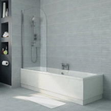 Voss 1700 x 750 Left Hand Straight Shower Bath with 6mm Hinged Screen