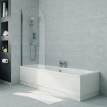 Voss 1700 x 700 Straight Shower Bath with 6mm Hinged Screen