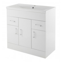 Premier Eden White Minimalist 800mm Basin Unit With Mid-Edge Basin