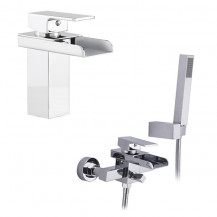 Detta Waterfall Basin Mixer and Wall Mounted Bath Shower Mixer