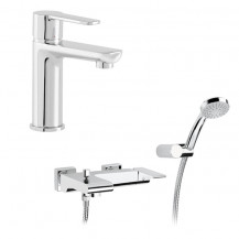 Loreto Basin Mixer with pop up and Wall Mounted Bath Shower Mixer