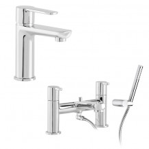 Loreto Basin Mixer with pop up and Bath Shower Mixer