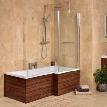 Walnut 1675 x 850 Right Hand L-Shaped Shower Bath With 6mm Screen & Panel