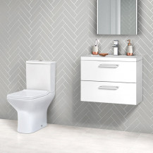 Austin 600 White Gloss Wall Hung Vanity Unit with Milan Toilet