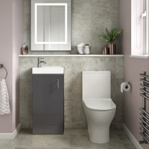Ashford Cloakroom Grey 400 Vanity Unit with Indiana Short Projection Toilet and Seat