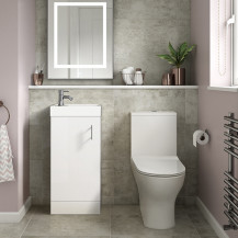 Ashford Cloakroom White 400 Vanity Unit with Indiana Short Projection Toilet and Seat