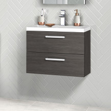 Austin 600mm Grey Avola Wall Hung Two Drawer Vanity Unit