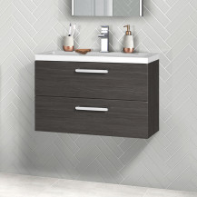 Austin 800mm Grey Avola Wall Hung Two Drawer Vanity Unit