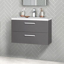 Austin 800mm Grey Gloss Wall Hung Two Drawer Vanity Unit