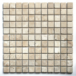 White Travertine Tumbled Wall/Floor Mosaic Tile