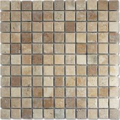 Antique White & Brown Tumbled Wall/Floor Mosaic