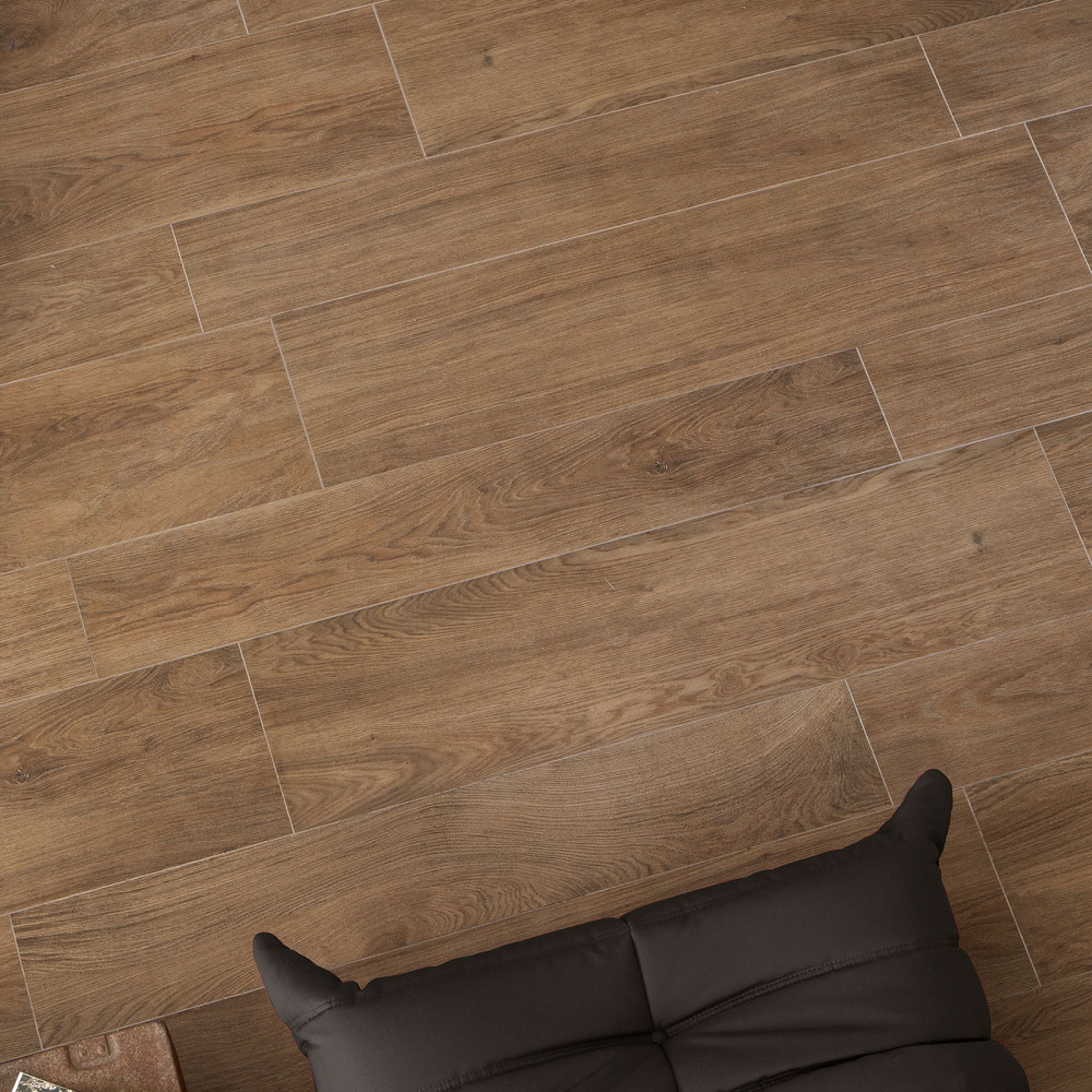 Trendwood Oak Natural Glazed Porcelain Rectified Floor Tile