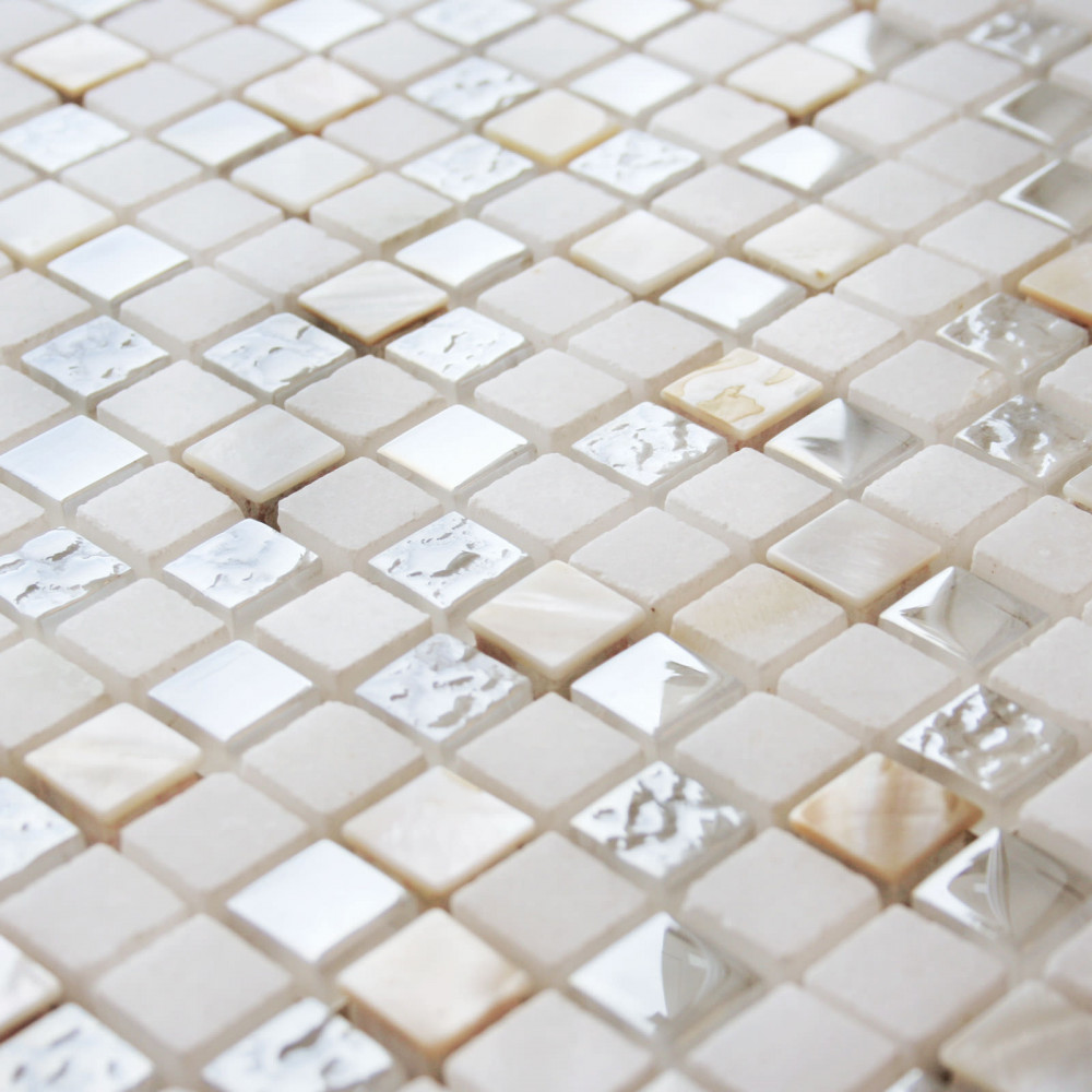 Glass pearl wall mosaic for Mosaique beige salle de bain
