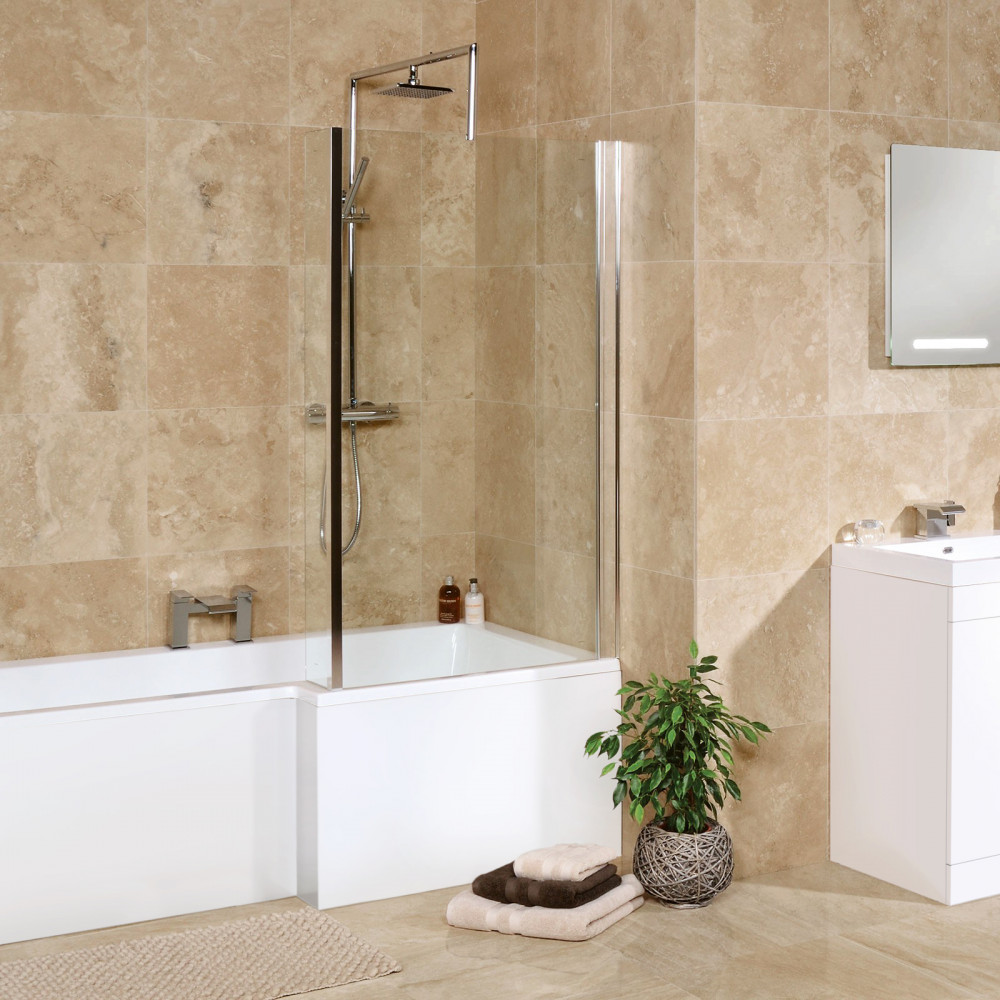 Bathroom Tile: Premium Classic Beige Square Honed & Filled Travertine