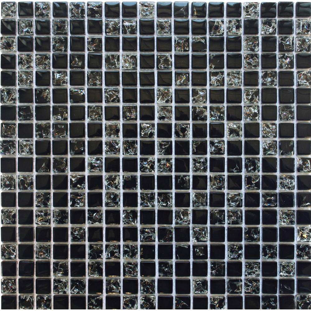 Black Crackle Glass Wall Mosaic