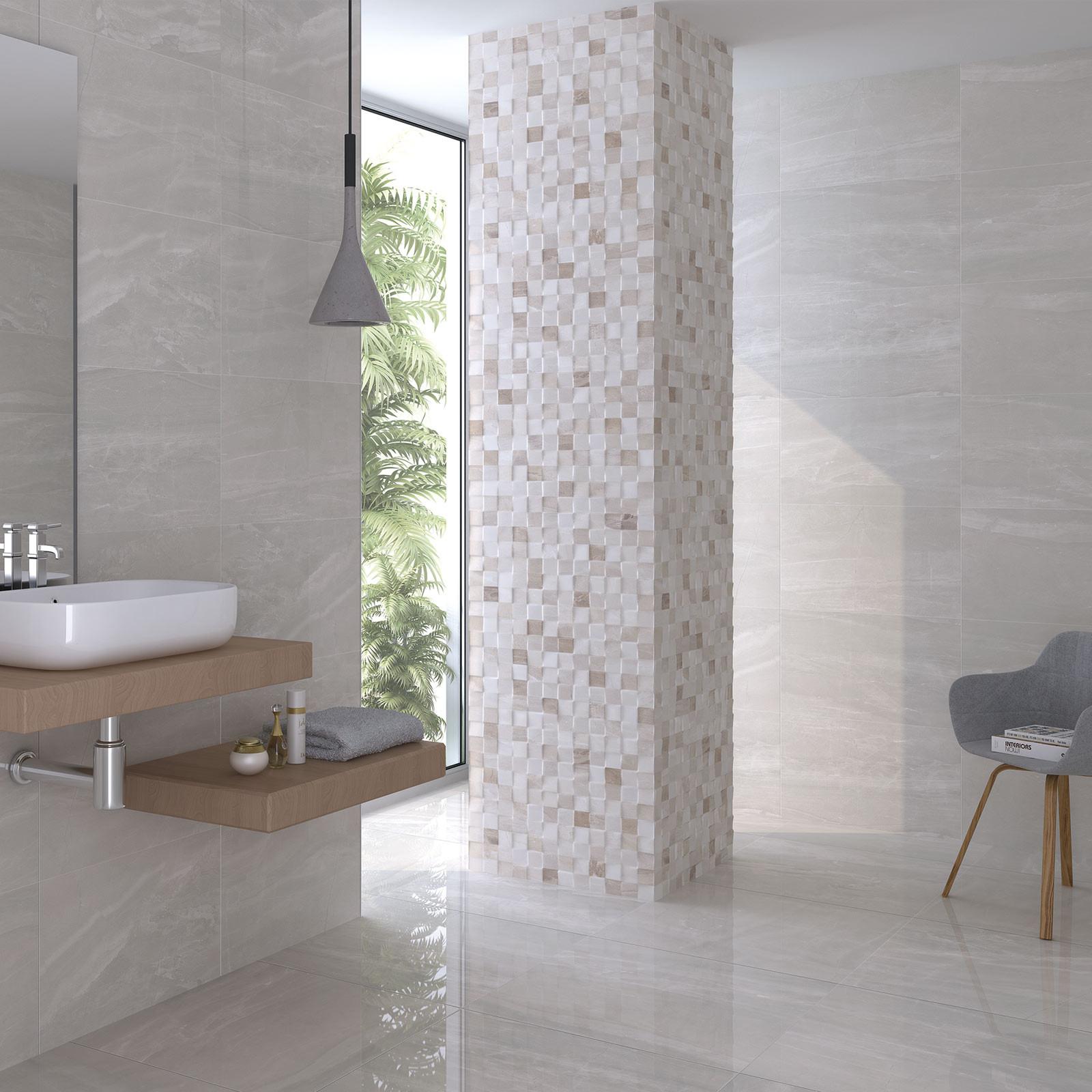 Atrium Kios Gris Relieve Glazed Porcelain Wall Tile