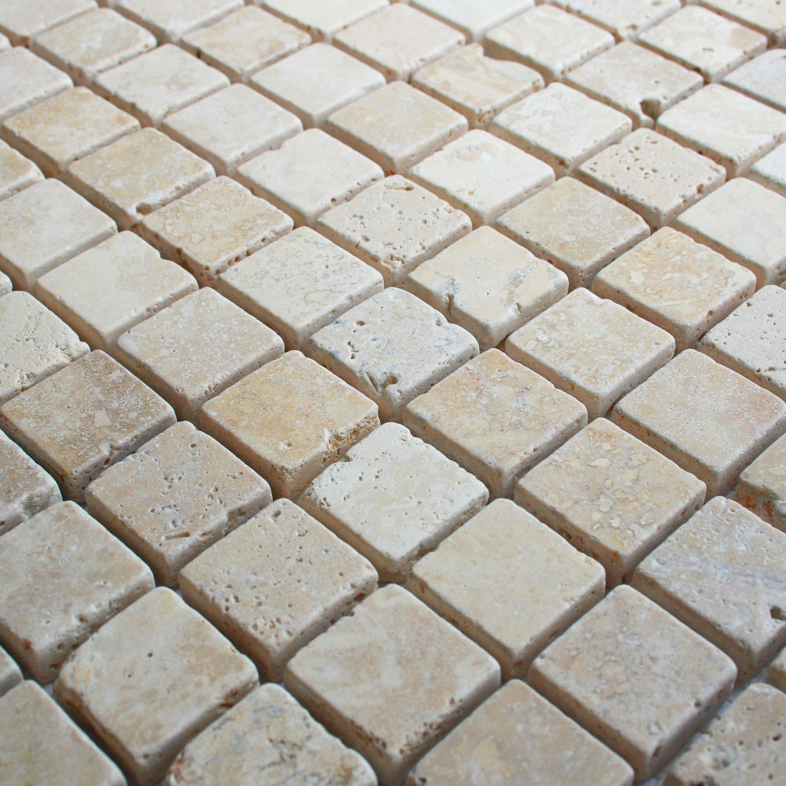 White Travertine Tumbled Wall Floor Mosaic Tile