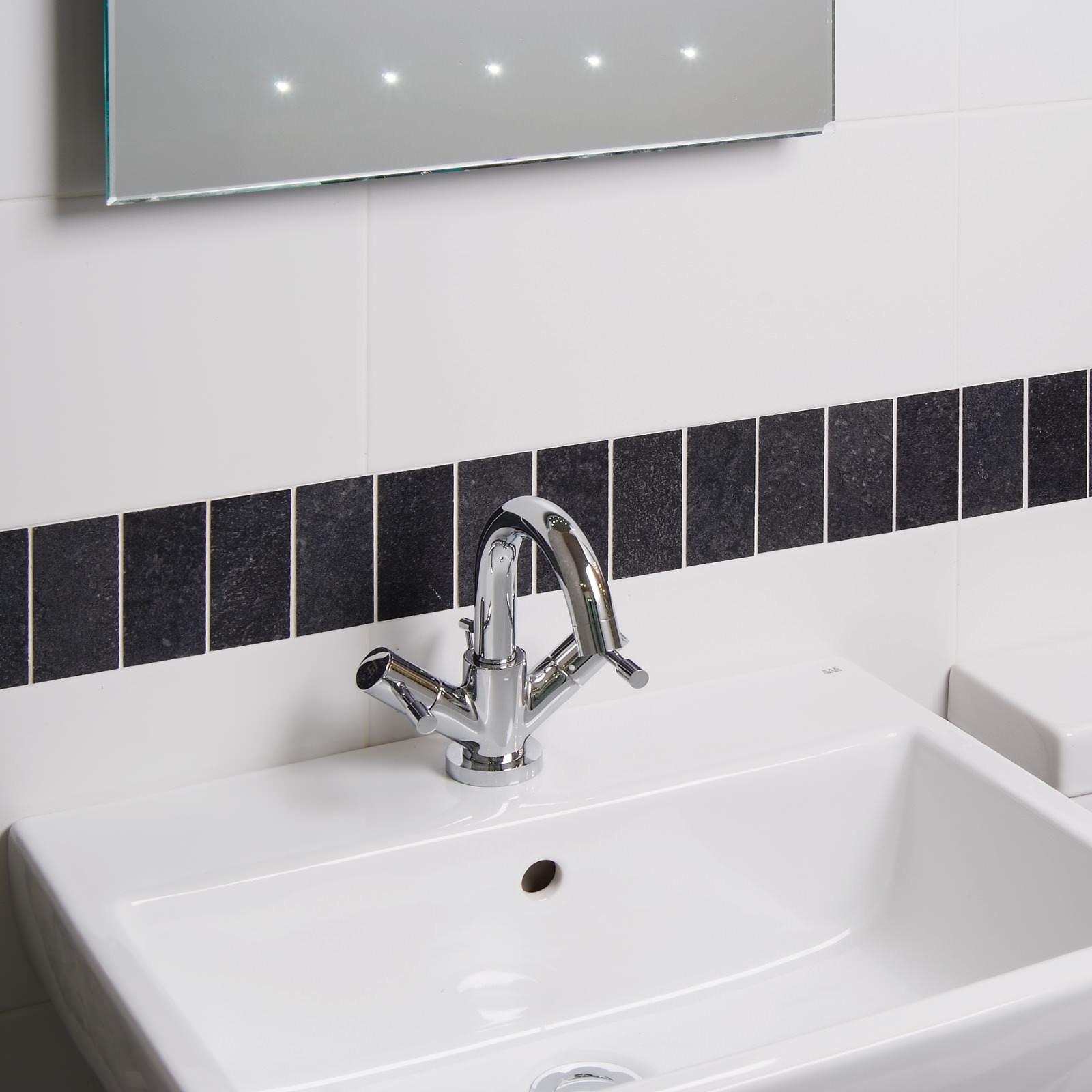 Moon Blanco Wall Tile - Matt black bathroom tiles