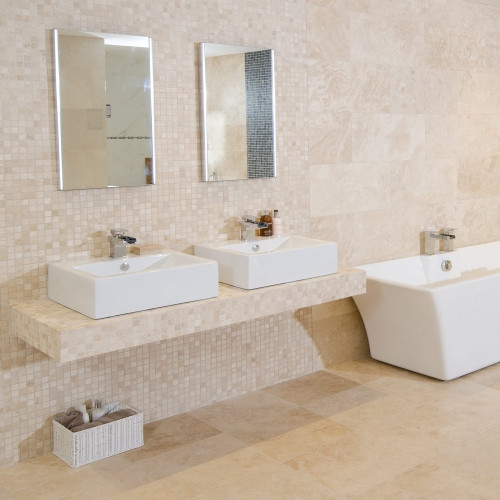 White Travertine Tumbled Wall Floor Mosaic Tile