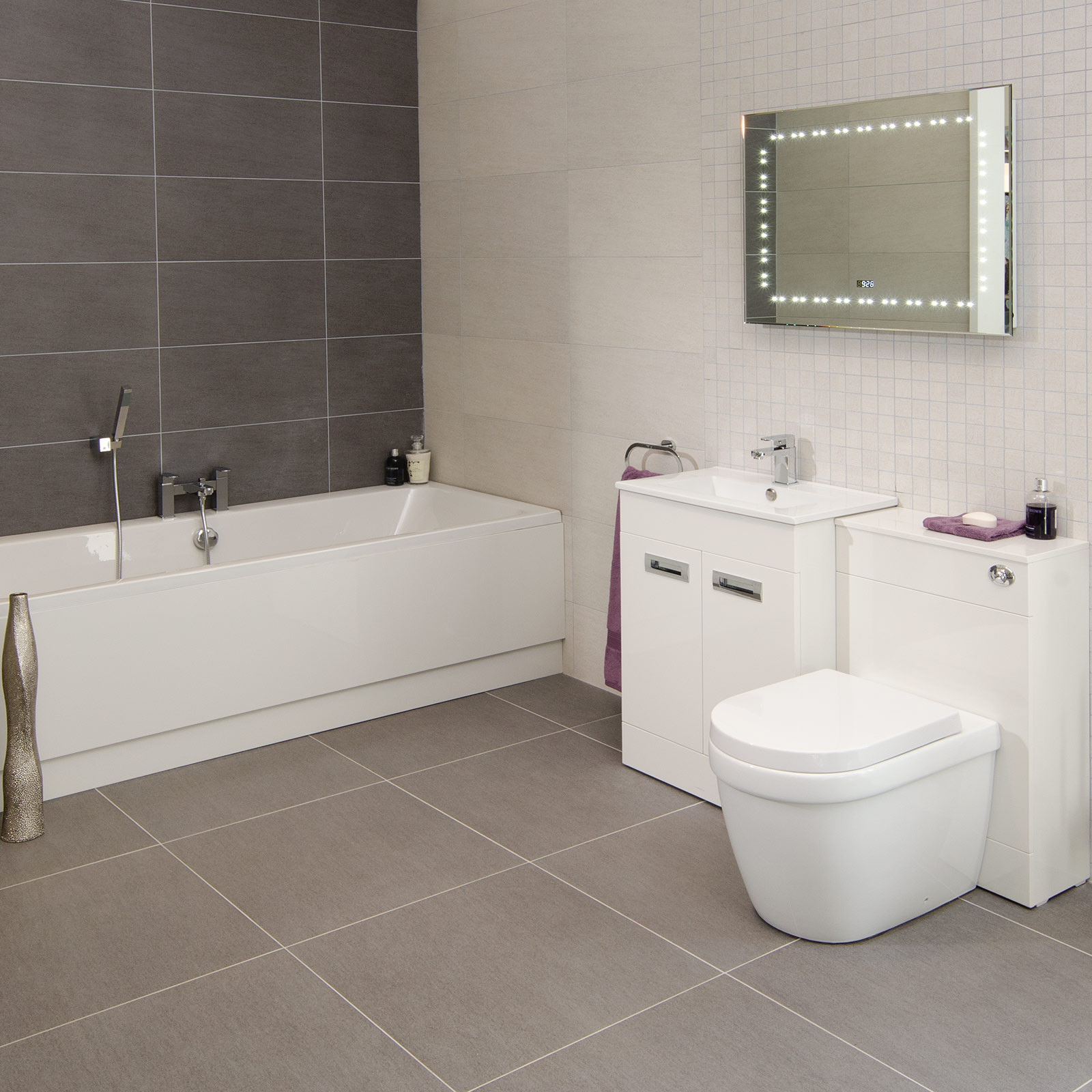 Wall Tile For Bathrooms: Quattro Silver Wall/Floor Tile