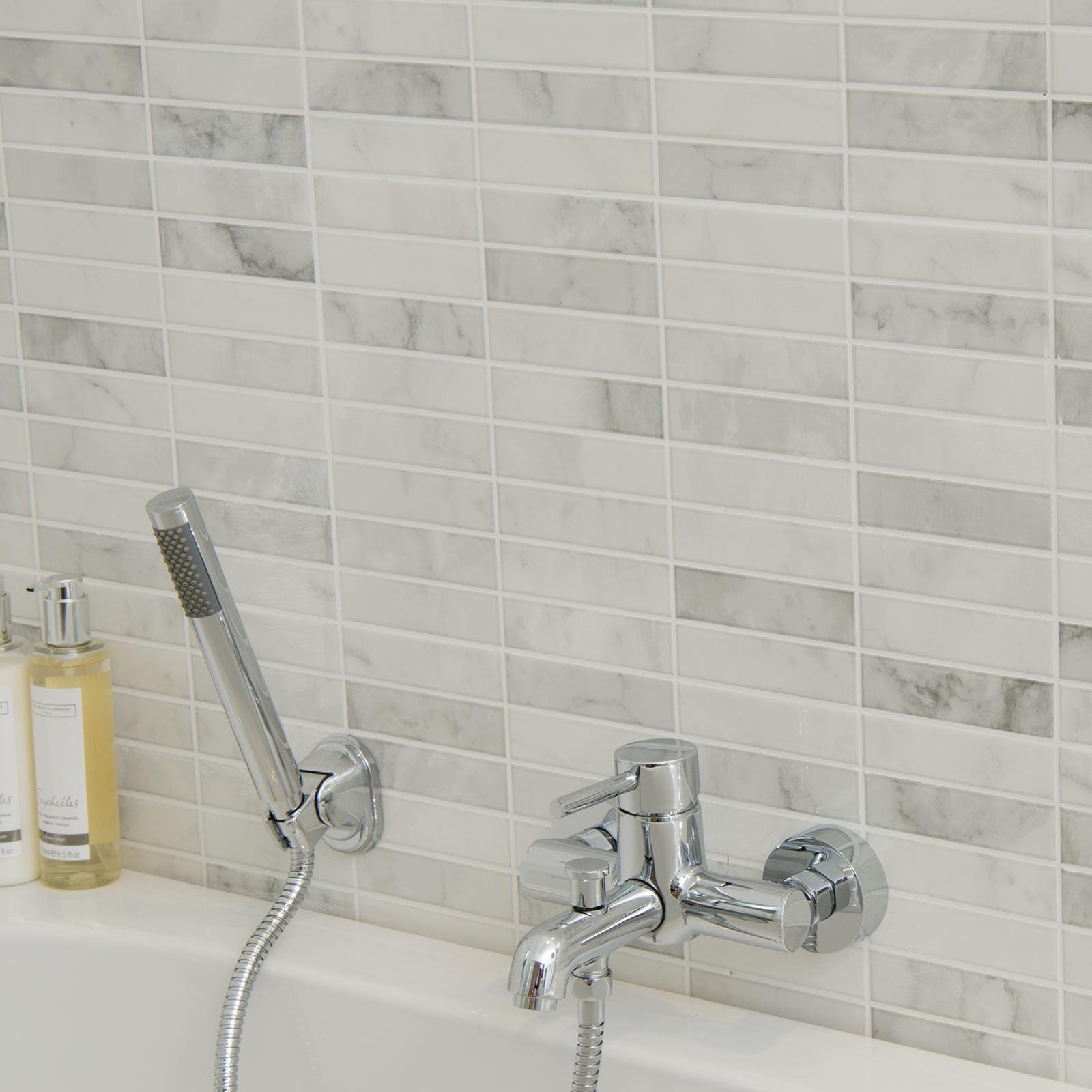 How To Clean Bathroom Wall Tiles Easily: Carrara Brillo Pre-Scored Wall Tile