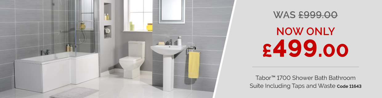 Tabor™ 1700 Shower Bath Bathroom Suite Including Taps and Waste