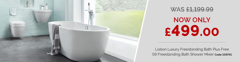 Lisbon 1650 x 750 Luxury Freestanding Bath Plus Free S9 Freestanding Bath Shower Mixer