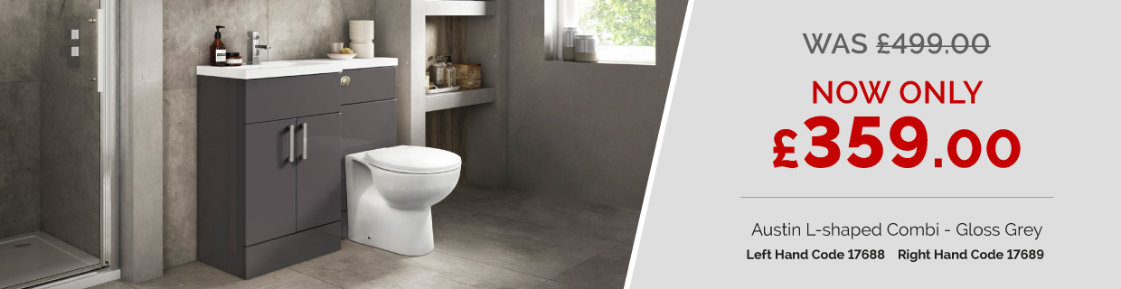 Austin Left Hand Grey Gloss Combination Unit with Sofia Back to Wall Toilet