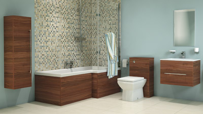 Aspen Walnut Right Hand L Shaped Shower Bath Complete Bathroom Suite