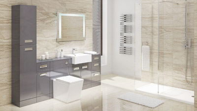 Cuba Grey Left Hand Combination Unit with Trinity Wetroom Enclosure Complete Suite