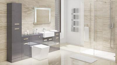 Cuba Grey Left Hand Combination Unit with Trinity Wetroom Enclosure Complete Suite