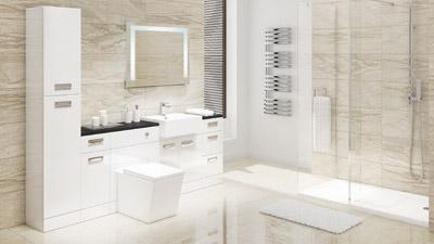 Cuba White Left Hand Combination Unit Black Worktop with Trinity Wetroom Enclosure Complete Suite