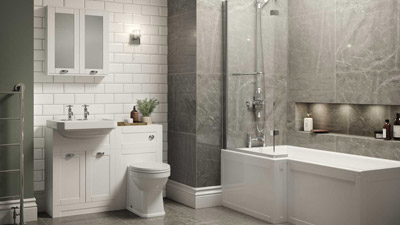 Nottingham White Park Royal Left Hand L Shaped Shower Bath Suite